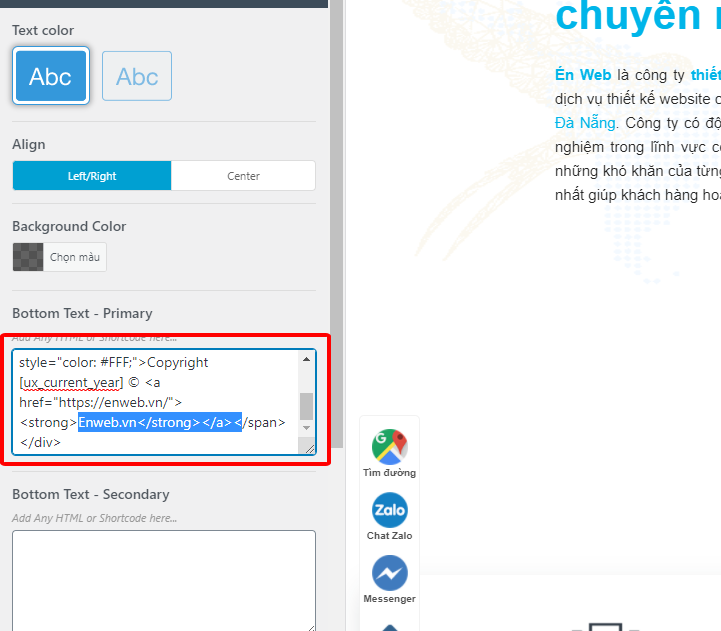 chỉnh footer