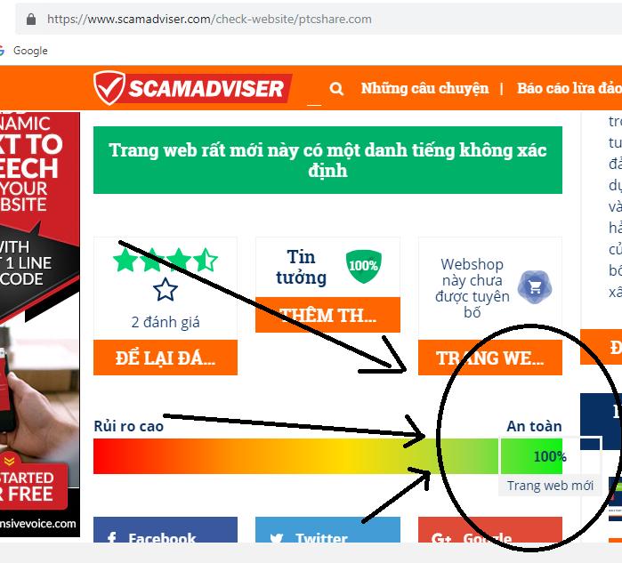 Công cụ Scamadviser.com