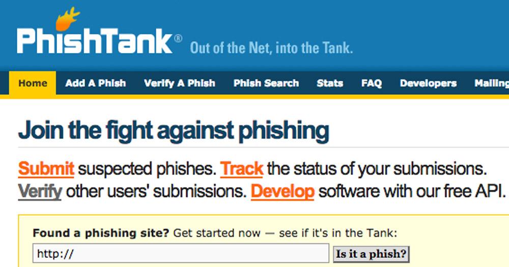 Kiểm tra độ uy tín của web PhishTank