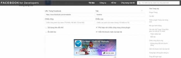 Điều chỉnh cấu hình để chèn fanpage vào website