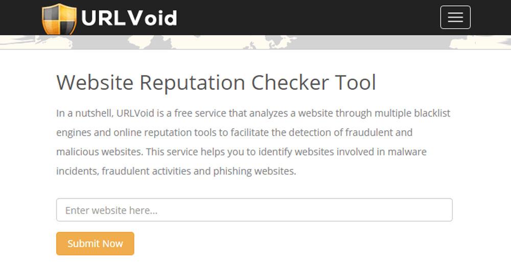 Kiểm tra độ uy tín của web URL Void