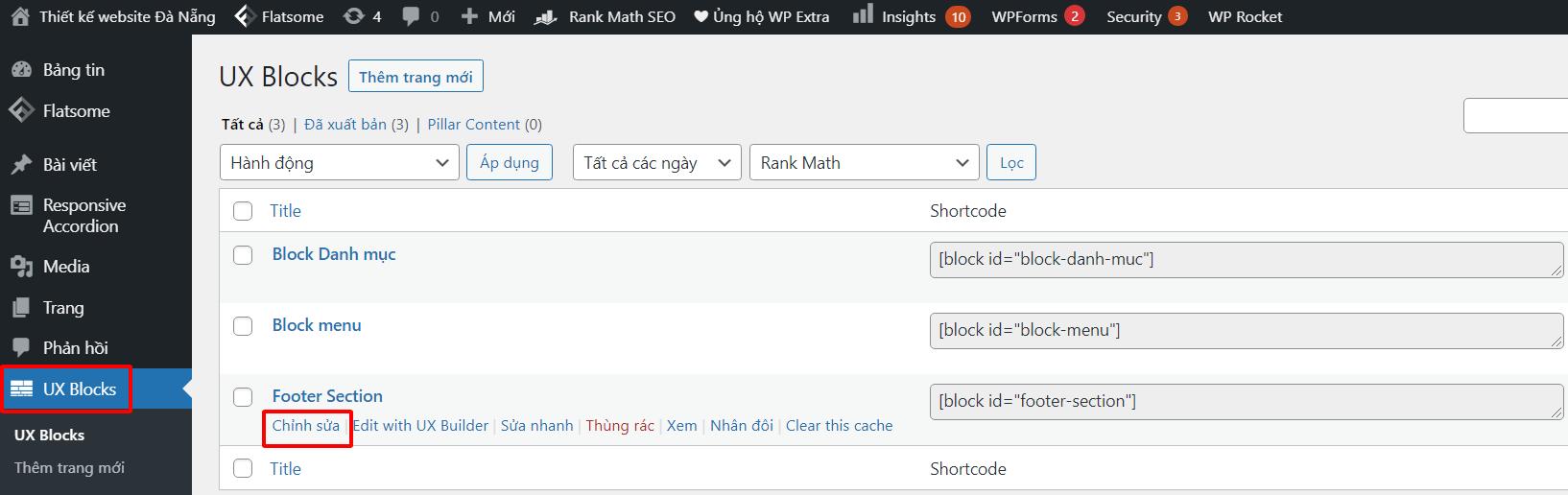 Chỉnh sửa footer wordpress bằng UX BLOCKS