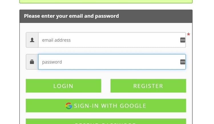 Màn hình hiển thị đăng ký