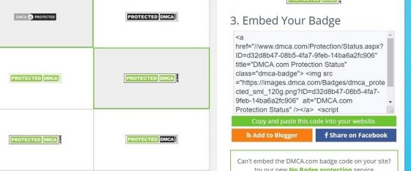 Lấy mã DMCA để chèn vào website